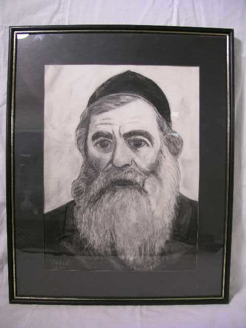 755: CHARCOLE SKETCH DRAWING RABBI SIGNED ALICE