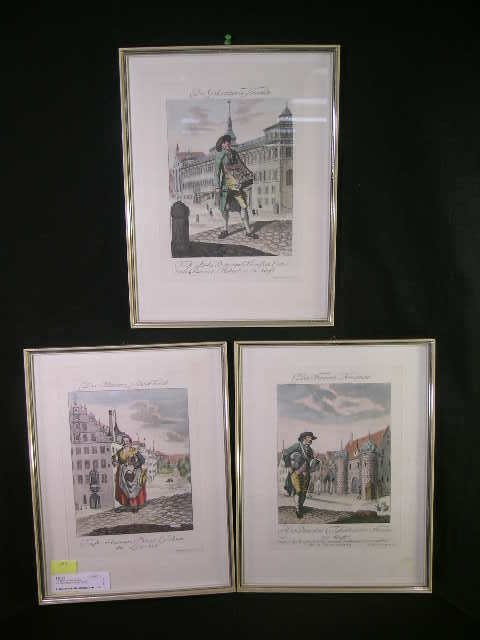 756: 3 HAND COLORED ETCHINGS DAS SCHWARZ BEER WERB 3 PC