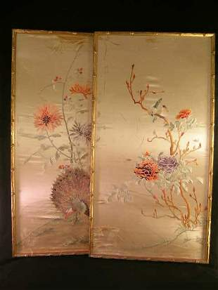 PR SILK EMBROIDERY WALL HANGINGS FRAMED