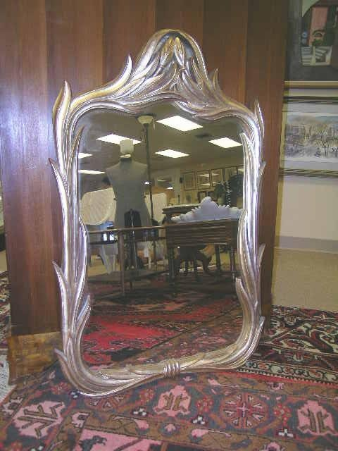 773: GILT CALLA LILLY STYLE WOODEN MIRROR WALL