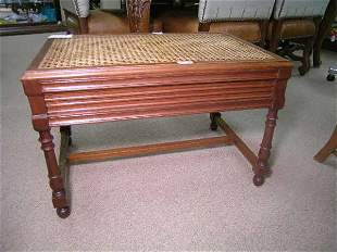 CANE AND WOOD SIDE TABLE OR BENCH