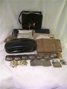 1038: VINTAGE HAND BAGS PURSES BELTS BUCKLES 15 PCS