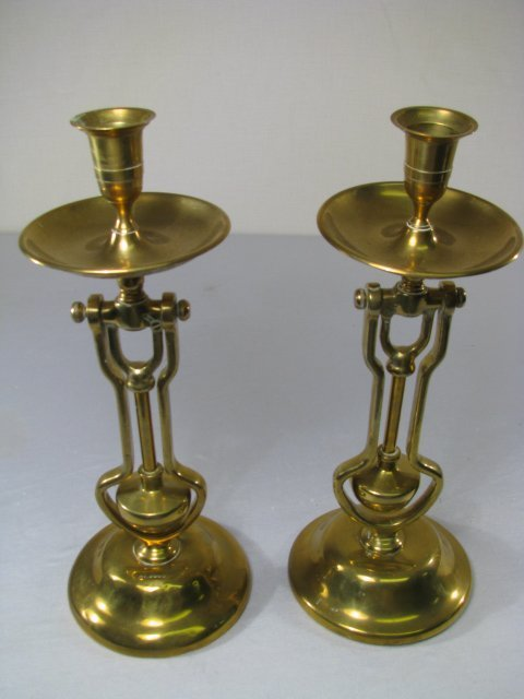37: ANTIQUE SHIPS BRASS CANDLE HOLDERS PR - 2