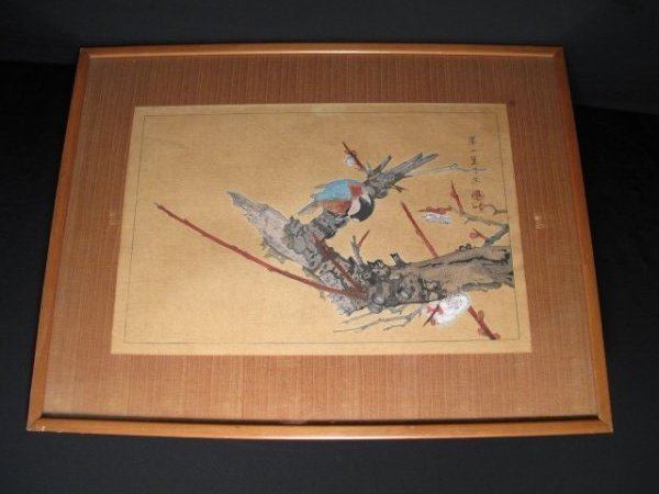 1: JAPANESE BLOCK PRINT SPARROW & BRANCH (RAKUSAN 123)