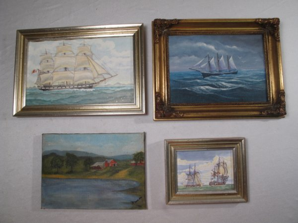 7: TWO PAINTINGS SHIP LANDSCAPE & 2 PAINTED TILES