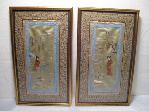 17: TWO C20th CHINESE EMBROIDERED TABLEAUX OF WOMEN