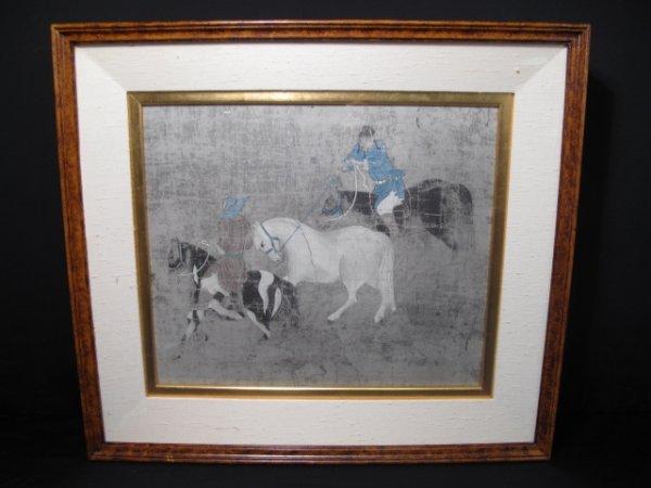 22: MODERN DECORATIVE ASIAN PRINT HORSEMEN HORSE