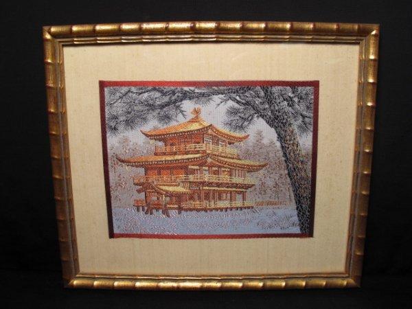 23: JAPANESE SILK EMBROIDERY PAGODA WINTER PROVENANCE