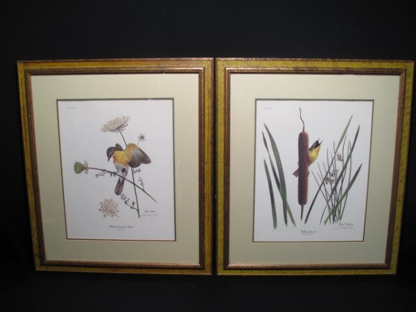 92: TWO RAY HARM PRINTS BIRDS BIRD SIGNED IN PENCIL