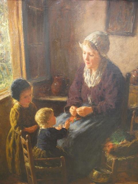 187: BERNARD POTHAST PAINTING MOTHER & CHILDREN