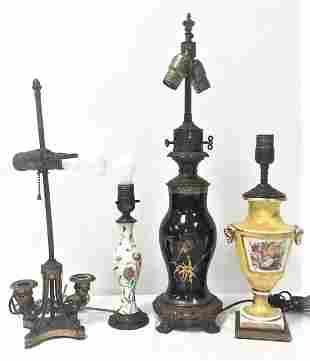 FOUR VINTAGE TABLE LAMPS: JAPANESE, ETC.