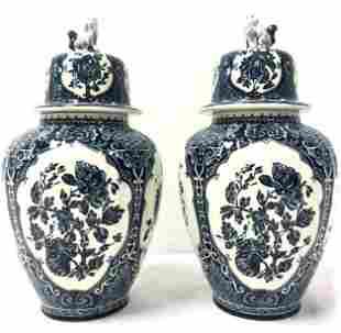 PR BOCH FOR ROYAL SPHINX: BLUE & WHITE GINGER JARS