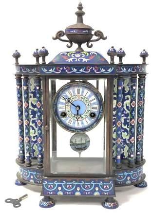 ANTIQUE FRENCH CLOISONNE MANTEL CLOCK