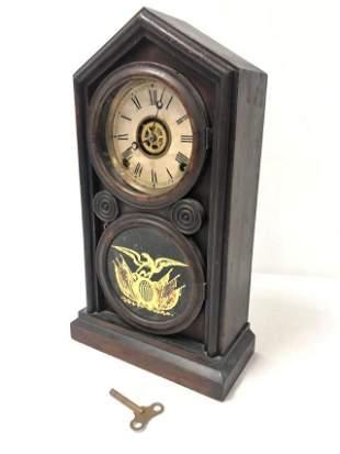 ANTIQUE 19TH C INGRAHAM SHELF CLOCK W/ ALARM
