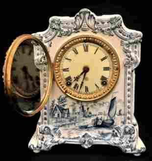 ANTIQUE ANSONIA BLUE & WHITE TRANSFERWARE CLOCK