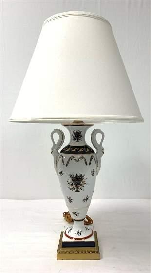 VINTAGE FREDERICK COOPER PAINTED PORCELAIN LAMP