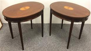 PAIR PARQUETRY INLAID OVAL SIDE TABLES