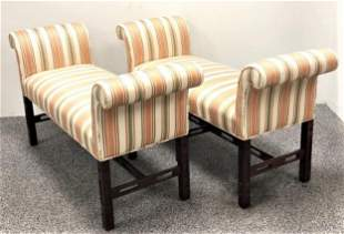 PAIR FABRIC UPHOLSTERED WINDOW SEAT BENCHES