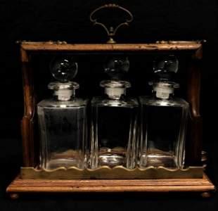 ANTIQUE WOOD BRASS & GLASS TANTALUS