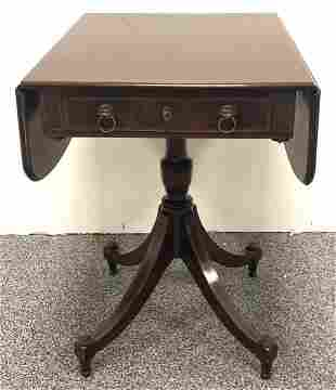 ANTIQUE FEDERAL STYLE PEMBROKE PEDESTAL TABLE