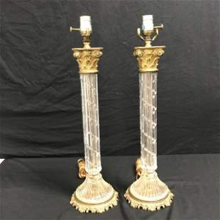PAIR VINTAGE CUT CRYSTAL & BRASS TABLE LAMPS