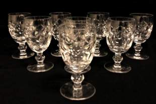 """EIGHT WATERFORD """"KERRY"""" CRYSTAL WHITE WINE GLASSES"""