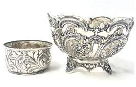TWO ANTIQUE EMBOSSED SILVER BOWLS