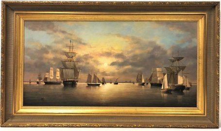 BRIAN COOLE OIL ON BOARD PAINTING: USS CONSTITUTION