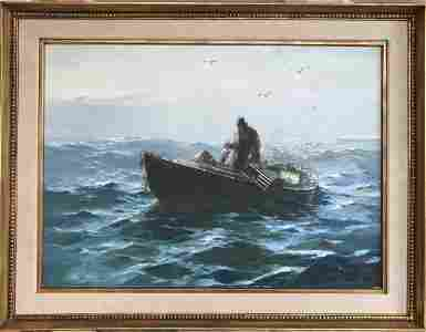 JACK L. GRAY OIL ON CANVAS PAINTING: FISHERMAN