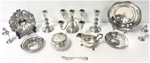 STERLING SILVER LOT: DRESSER JAR, BOWLS, ETC 23+ T