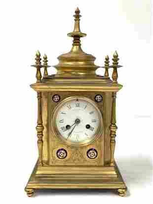 ANTIQUE FRENCH HOWELL JAMES & CO GILT BRONZE CLOCK