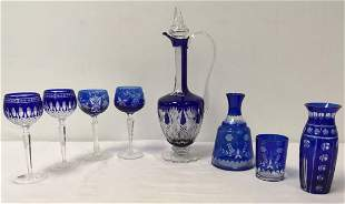 ASSORTED COBALT CUT TO CLEAR CRYSTAL: 7 PCS