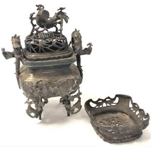 CHINESE QING DYNASTY CAST METAL CENSER