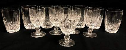 """WATERFORD """"COLLEEN"""" CUT CRYSTAL STEMS, GLASSES 12P"""