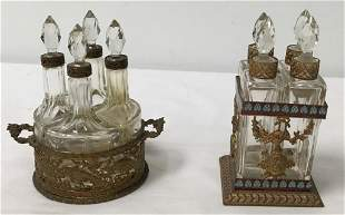 TWO BACCARAT CRYSTAL & BRONZE SCENT CADDIES
