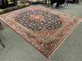 "LRG ANTIQUE KASHAN PERSIAN WOOL RUG 10'5"" X 13'5"