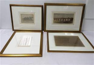 FOUR ANTIQUE FRAMED DRAWINGS / PAINTINGS