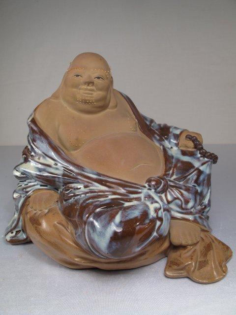 1: LARGE CHINESE MUD & GLAZED BUDDHA