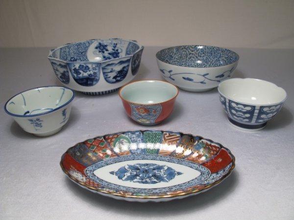 6: SIX PIECES ASIAN BLUE & WHITE IMARI POTTERY BOWLS