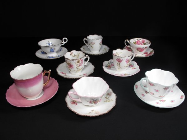 10: SHELLEY FOLEY RADFORD LIMOGES CHINA CUPS SAUCERS 8