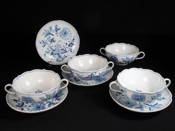 17: FOUR MEISSEN BLUE ONION CREAM SOUP BOUILLON BOWLS