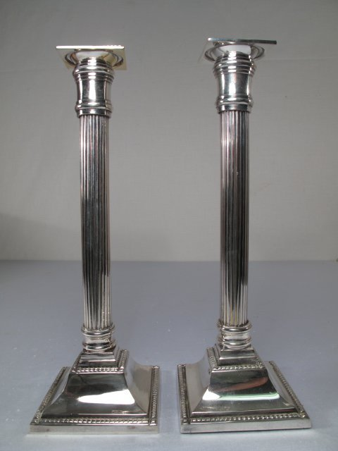 20: MOTTAHEDEH DORIC SILVER PLATE CANDLESTICKS PAIR