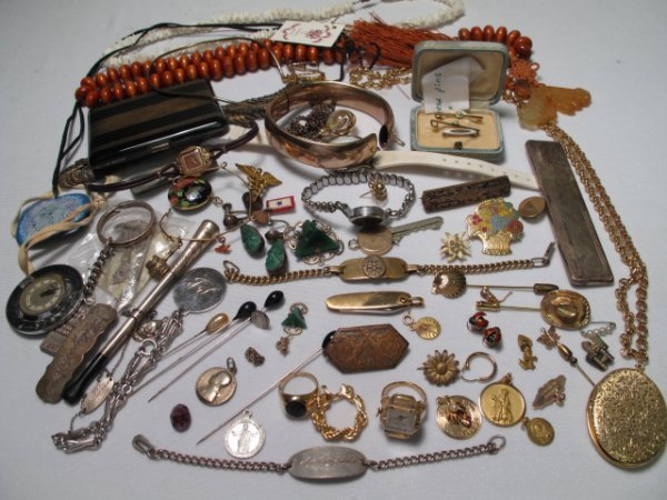12: LADIES ESTATE JEWELRY LOT STERLING GOLD WATCHES ETC