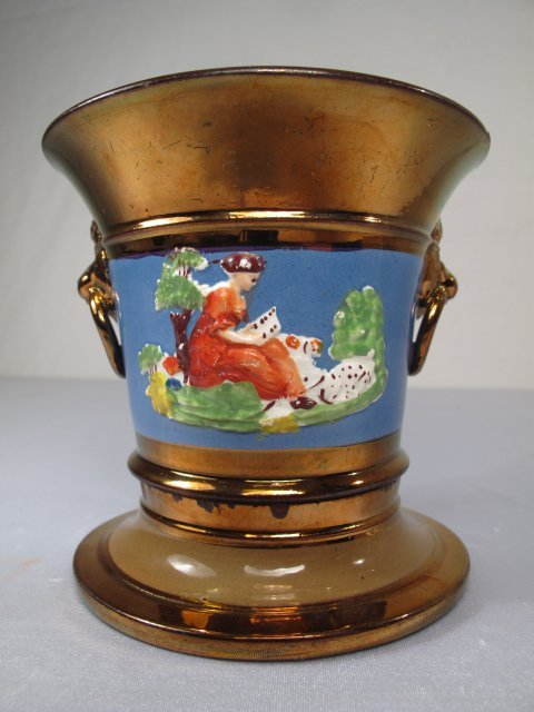 14: ENAMEL DECORATED COPPER LUSTER PLANTER WITH BASE