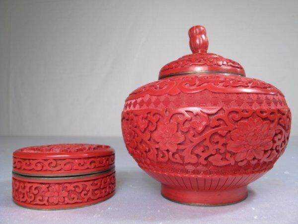 20: CHINESE CINNABAR COVERED VASE AND SMALL ROUND BOX