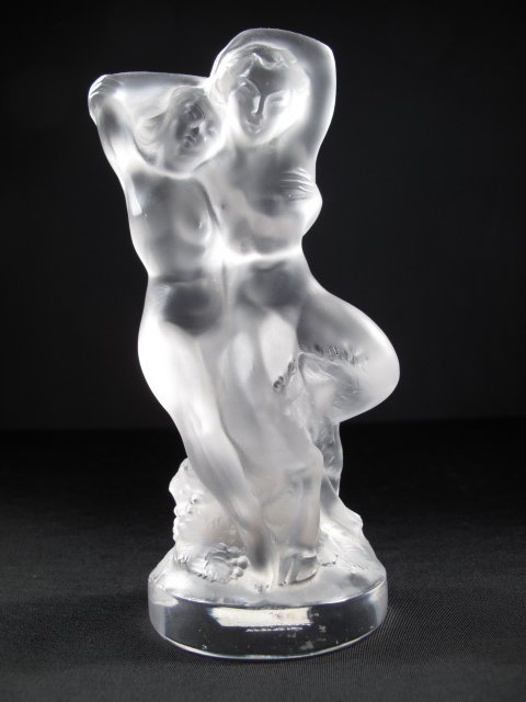 23: LALIQUE CRYSTAL FIGURE - NUDE WITH SATYR