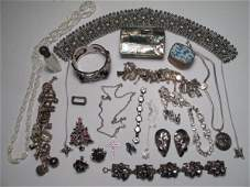 49: VARIETY STERLING AND PLATE COSTUME JEWELRY CHARMS