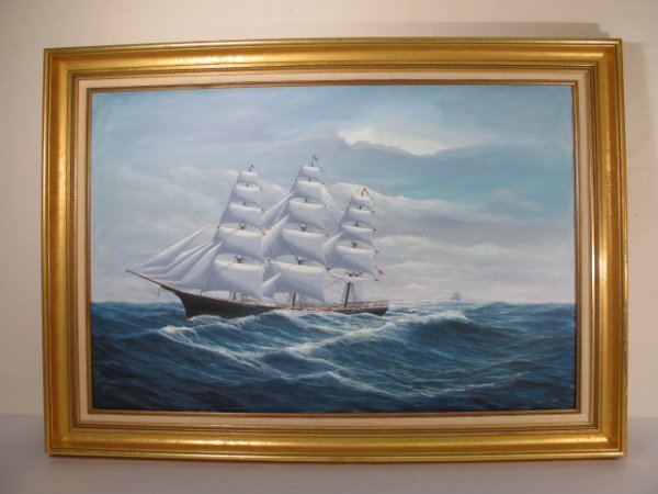 "80: ROBERT LEE PERRY MARINE OIL PAINTING ""CHALLENGE"""