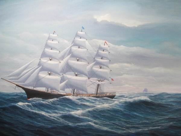 "80: ROBERT LEE PERRY MARINE OIL PAINTING ""CHALLENGE"" - 2"