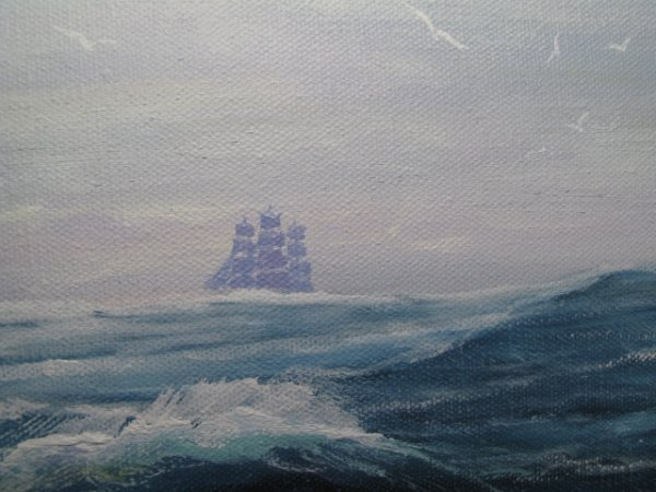 "80: ROBERT LEE PERRY MARINE OIL PAINTING ""CHALLENGE"" - 5"